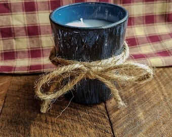 Blue Votive Candle, Distressed, Country Decor