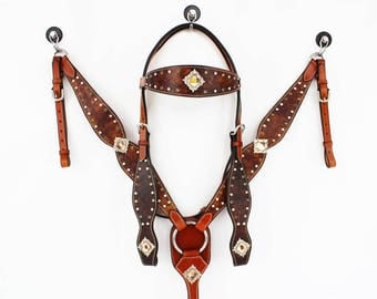 Amber Tie Dye Bling Western Leather Cowboy Show Trail Pleasure Cowgirl FQH Horse Bridle Headstall Breast Collar Tack Set