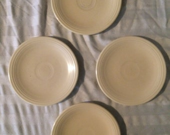 Vintage Fiestaware Old Ivory Cream Set of 4 Bread and Butter Plates