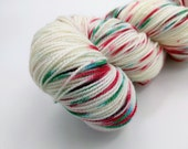 Sock Yarn - Have a Very Speckled Christmas Colorway -  Merino Wool, Nylon Blend - Hand Dyed - Knit - Crochet - Fingering Weight
