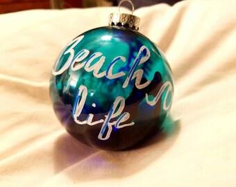 Beach life 3 inch glass ornament
