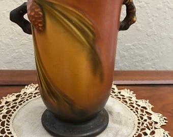 Roseville Pottery Pine Cone Vase With Handles