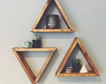 SINGLE Wood Triangle Shelf, Geometric Wall Shelf, Boho Wall Decor, Rustic Wall Decor, Crystal Display Shelf, Succulent Wall Shelf, Floating