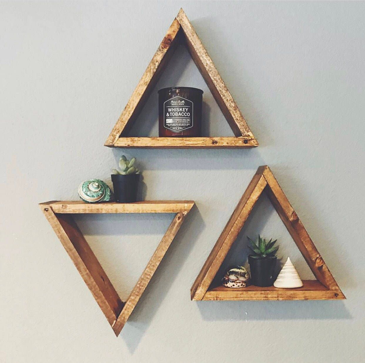 Single wood triangle shelf geometric wall shelf boho decor - Triangular bookshelf ...