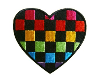 Heart Embroidered Applique Iron on Patch 8.2 cm. x 7.7 cm.