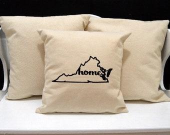 Virginia Home Pillow, Virginia Pillow, home pillow, pillow gift, Virginia gift, Envelope Pillow Cover, state pillow, VA pillow, 20x20 pillow