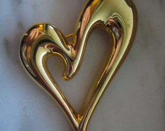 Vintage Monet Gold Tone Heart Pin or Brooch