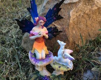 Miniature Dollhouse FAIRY GARDEN ~ pretty fairy with pegasus