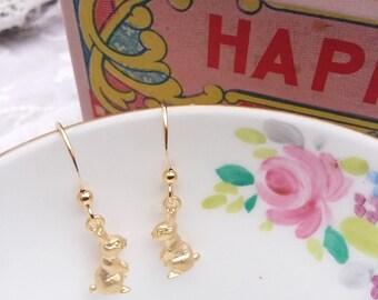 Gold plated rabbit earrings alice in wonderland