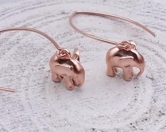 Lovely rose gold plated elephant earrings, long hook