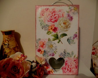 Floral Shabby Chic Picture Plaque/ Vintage style. Handcrafted