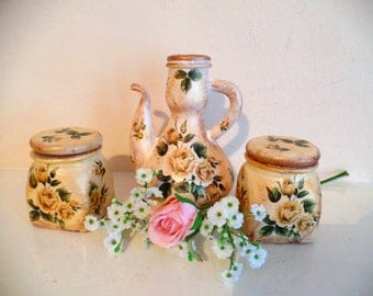 Set of gorgeous unusual ornament bottle and two pretty jars