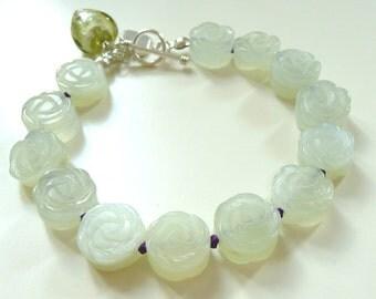 Jade flower bracelet gemstone jewelry jade bracelet with sterling silver heart gift for women/girls