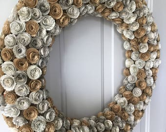 Paper flower wreath, book page wreath, fixer upper, bookish, bookish gift, 1 year anniversary, literature wreath, paper flower, book page