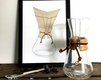 Chemex / Coffee maker illustration - A4 print