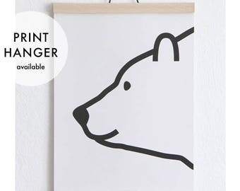 Polar Bear Print - Poster - Kids' Room - Prints for kids - A4 - Print Hanger