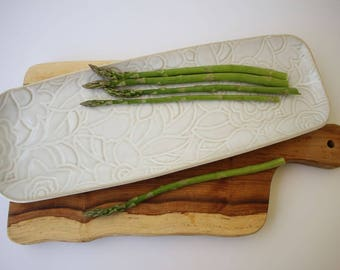 Ceramic tray, serving tray, serving platter, white tray, ceramics and pottery, housewarming gift, chef gift, potluck gift, kitchenware