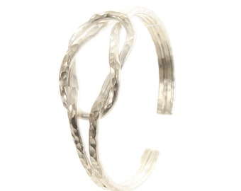 Sterling Silver Hammered Love Knot Cuff Bangle