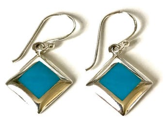 Turquoise sterling silver diamond shape earrings