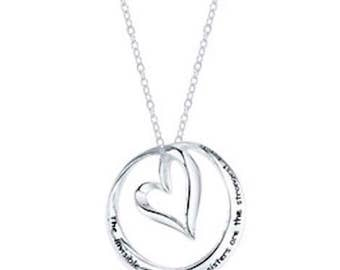 Sterling Silver Chance Made us Sisters Hearts Necklace