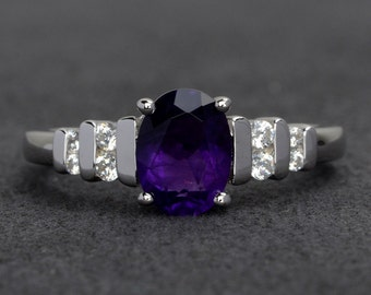oval amethyst ring genuine gemstone ring engagement ring purple amethyst rings silver February birthstone ring birthday gift