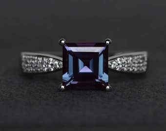 square cut alexandrite ring silver gemstone ring June birthstone ring color changing