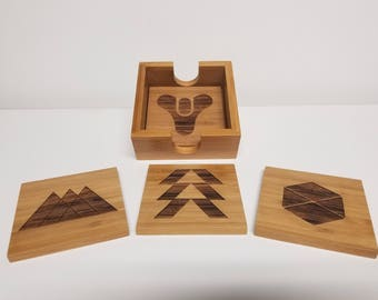 Destiny themed Bamboo Coaster Set of 4 with Caddy