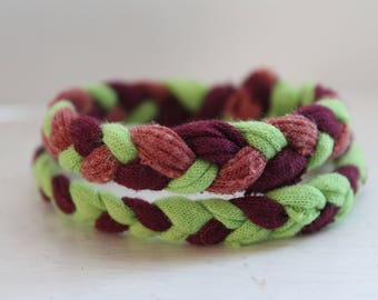 2 Pack of Up-cycled Handmade Braided Fabric Bracelets (Bright Green, Burgundy, Muted Pink)