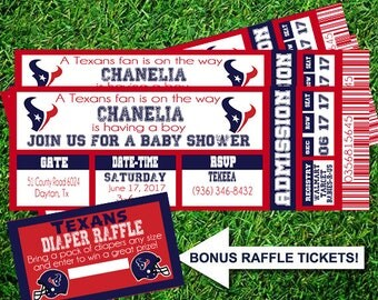 Houston Texans Baby Shower Sports Ticket Invitation Birthday Diaper Party  NFL Football Any Theme Digital Printable