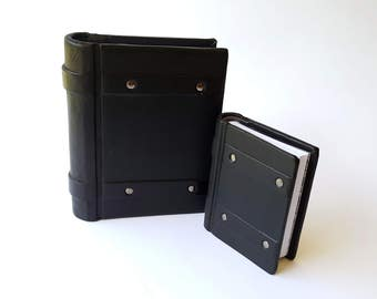 Black Riveted Leather Pocket Book - Springback - 2 sizes