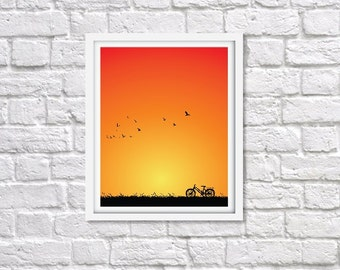 Printable Wall Art, Silhouette of bicycle on nature at sunset.
