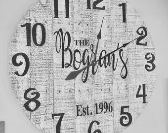 Rustic Wood Clock, Large Wall Clock, Family Last Name Wall Clock.