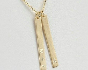 Personalized Necklace, Vertical Bar Tag Necklace, 32 x 4 mm, Personalized Engraved Name, Custom Necklace, Coordinates, Date, Symbols, 0289