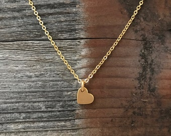 Matte gold heart necklace tiny heart necklace