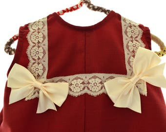 Dress for girls on Lino clasicc Collection - Red wine
