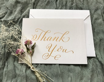 Calligraphy Thank You Cards Set of 10, Small Thank You Cards, Handmade Thank You Cards