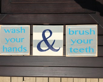 Hand painted wood sign - bathroom decor - wash your hands - brush your teeth
