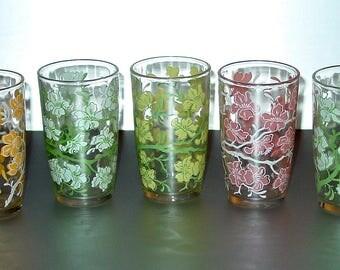 Vintage Flowered Juice Glasses (5) Assorted Colors, Retro Kitchen Classic