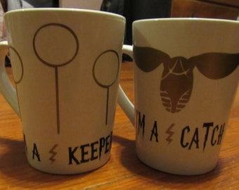 Harry Potter I'm a Catch/Keeper Coffee Mugs