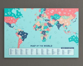 Jumbled Letters World Map. Large Map of the World. Poster Print Wall Art Home Décor. Learn the countries and capitals.