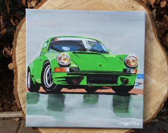 Acrylic painting Porsche 911 model F, on abstract painting, canvas, poster, direct from the artist.