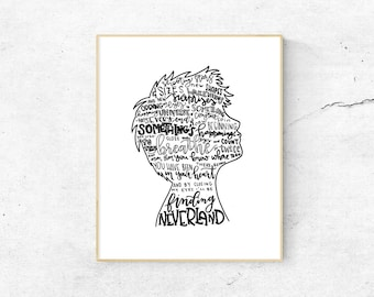 Finding Neverland Silhouette Black and White Print
