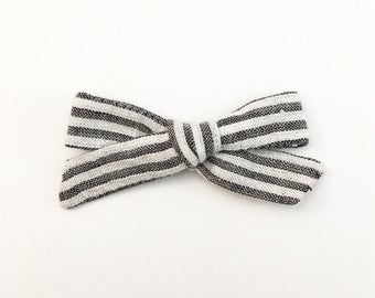 Grey Striped Bow - Hand Tied Bow - Baby Bows - Baby Hair Clips - Baby Headbands - Toddler Headband - Baby Hair Bows - Hair Bows
