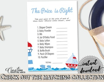 Price Is Right Baby Shower Price Is Right Nautical Baby Shower Price Is Right Baby Shower Nautical Price Is Right Blue Red prints - DHTQT