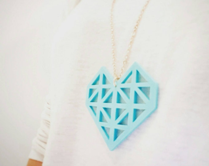 Make.E geometric Mint heart necklace