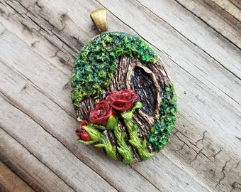 Enchanted Woods Red Roses Pendant - Fairy Tale Jewelry - Romantic
