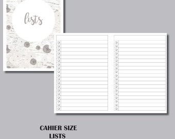 CAHIER SIZED LISTS Travelers Notebook Insert