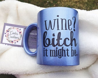 Blue shimmer mug//pearl blue mug//wine coffee mug//humor mug//unique mug//CoatesCreations24 original//coffee gift