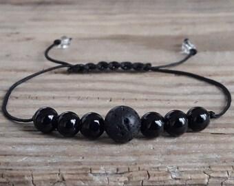 Mens diffuser bracelet lava bead bracelet black agate bracelet healing bracelet meditation bracelet lava rock diffuser bracelet for boys