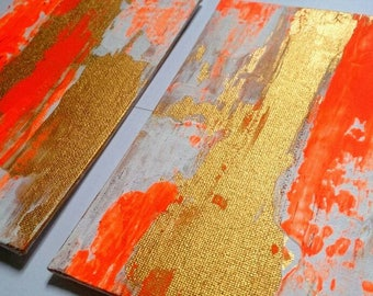 Abstract Acrylic Painting / Set of Two Small Painting Set of Wall Art / Gold White Neon Orange Canvas 5 x 7 Painting Textured Art Gift